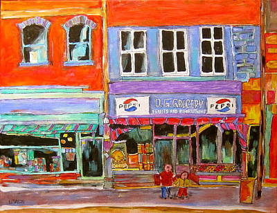 St. Lawrence Blvd Painting - D.g. Grocery On The Main by Michael Litvack