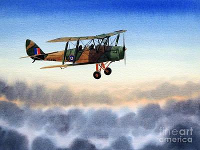 Raf Painting - Dh-82 Tiger Moth by Bill Holkham
