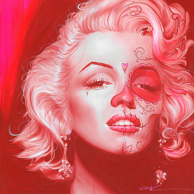 Tattoo Painting - Marilyn Monroe - 'dia De Los Monroe' by Christian Chapman Art