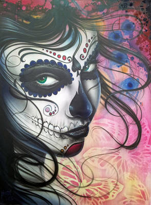 Sugar Skull Painting - Dia De Los Muertos Chica by Mike Royal