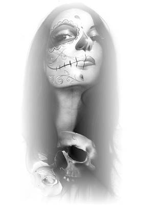Fine Art Of Women Painting - Sugar Skull - 'dia De Los Muertos Rachel' by Christian Chapman Art