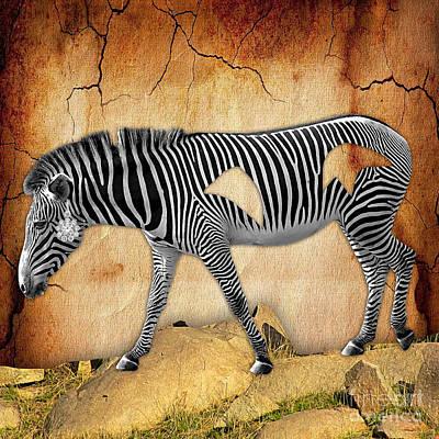 Zebra Mixed Media - Diamond In The Rough Zebra. Spot The Diamond. by Marvin Blaine