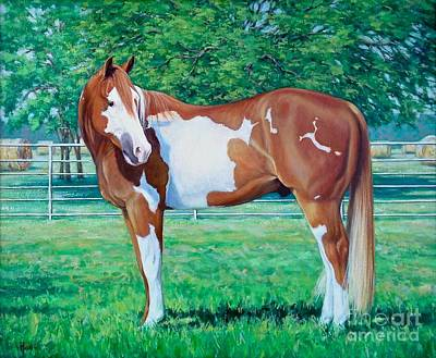 Pinto Painting - Diamond Of Riverview Ranch by Vickie Fears