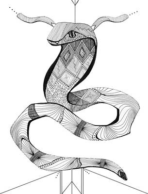 Burmese Python Drawing - Diamond Python  by Audrey Miller