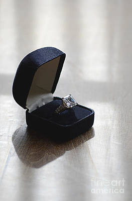 Diamond Ring On A Black Box Print by Jill Battaglia