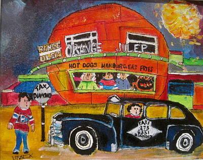 Painting - Diamond Taxi At The Orange Julep by Michael Litvack
