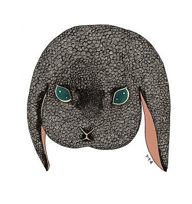 Rabbit Mixed Media - Diamond by Yoyo Zhao