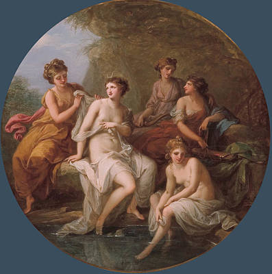 Diana And Her Nymphs Bathing Print by Angelica Kauffmann