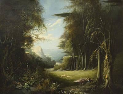 Diana Asleep In A Woodland Glade Print by English School