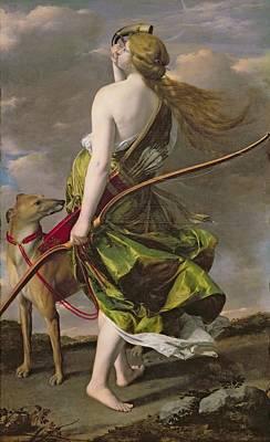 Diana The Hunter, C.1624-25 Oil On Canvas Print by Orazio Gentileschi