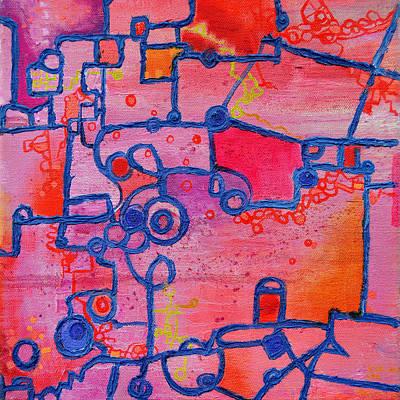 Dichotomy  Original Abstract Oil Painting By Regina Valluzzi Print by Regina Valluzzi