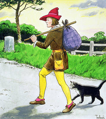 Dick Whittington And His Cat Print by Trelleek