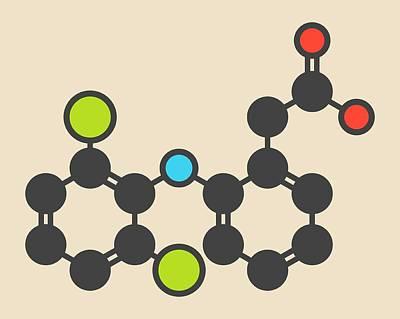 Inflammation Photograph - Diclofenac Inflammation Drug Molecule by Molekuul