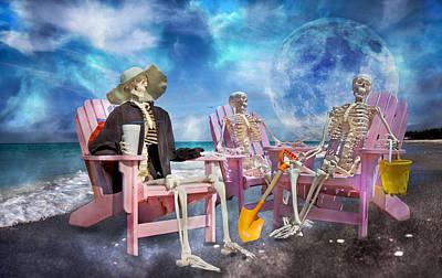 Human Skeleton Photograph - Diehard Beach Bums by Betsy Knapp