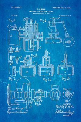 Diesel Internal Combustion Engine Patent Art 1898 Blueprint Print by Ian Monk