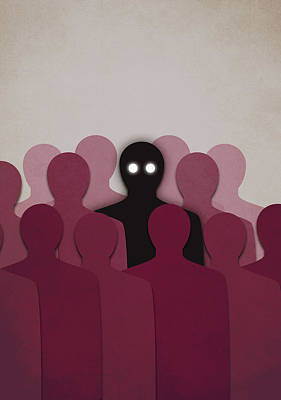 Individuality Digital Art - Different And Alone In Crowd by Boriana Giormova