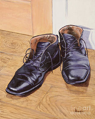 Black Boots Painting - Difficult To Fill by Alacoque Doyle