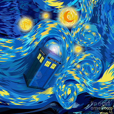 Fandom Drawing - Digital Art Phone Booth Starry The Night by Lugu Poerawidjaja