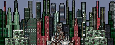 Digital Circuit Board Cityscape 5a - Wide Print by Luis Fournier