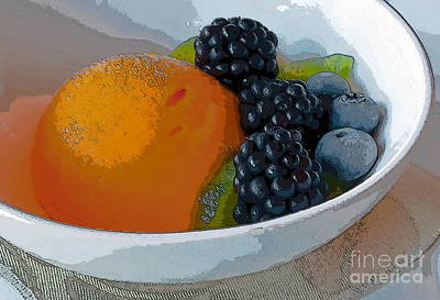 Digital Poster Of Sorbet And Fruit Print by Beth Wolff
