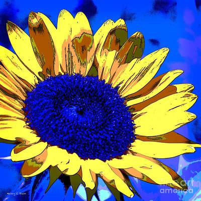 Dimensional Sunflower  Print by Nancy E Stein