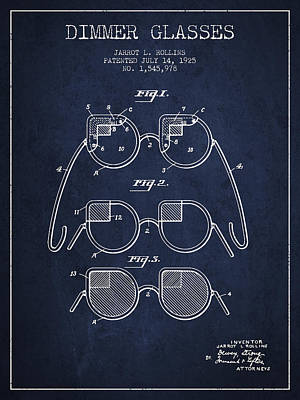 Dimmer Glasses Patent From 1925 - Navy Blue Print by Aged Pixel