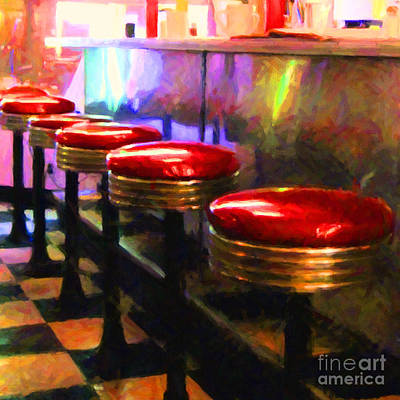 Mels Drive-in Photograph - Diner - V2 - Square by Wingsdomain Art and Photography