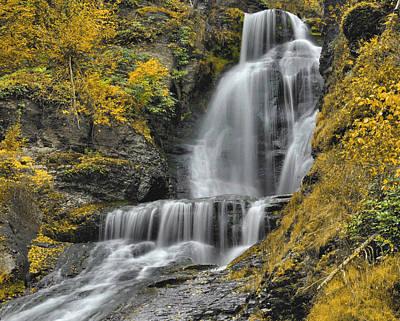 Dingmans Falls In Autumn Print by Stephen  Vecchiotti