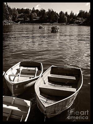 Dingy Docked In Seal Cove Maine Print by Edward Fielding