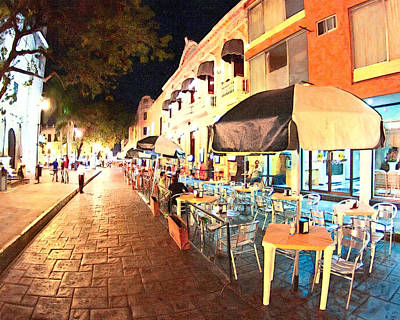 Dining Al Fresco In Merida Print by Mark Tisdale