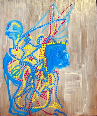 Dinka Wedding Painting - Dinka Angel Bride - South Sudan by Gloria Ssali
