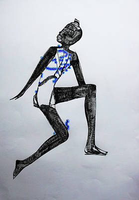 African Ceramics Drawing - Dinka Silhouette - South Sudan by Gloria Ssali