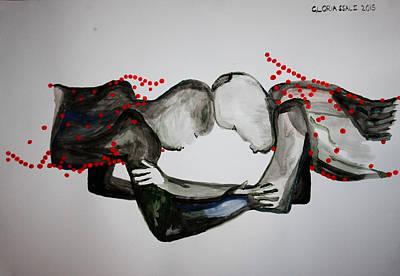 South Sudan Painting - Dinka Wrestling - South Sudan by Gloria Ssali
