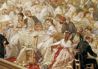 Dinner At The Tuileries, 1867 Wc On Paper Detail Of 182992 Print by Henri Baron