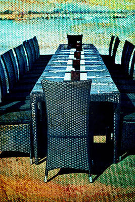 Empty Chairs Photograph - Dinner By The Sea by Georgia Fowler