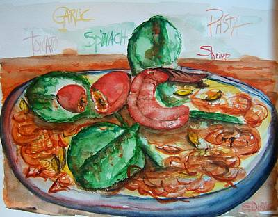 Spinach Painting - Dinner by Elaine Duras