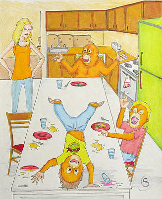 Orangutan Drawing - Dinner With Orangutans by Ryan Sweeney