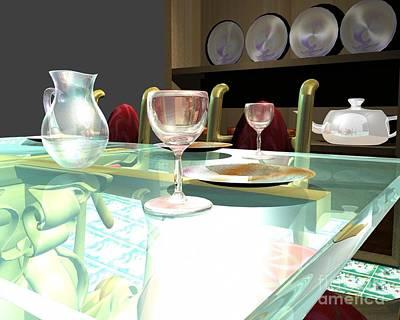 Dinning Table Print by Artist Nandika  Dutt