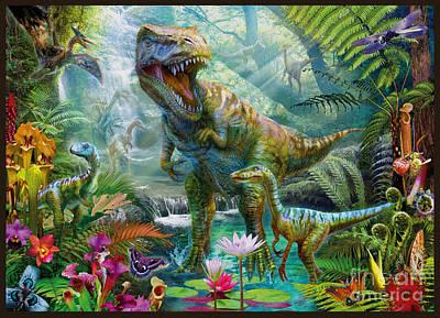 Dino Digital Art - Dino Jungle Scene by Jan Patrik Krasny