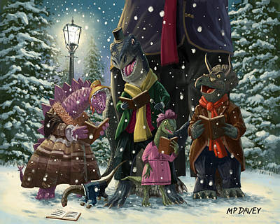 Peace On Earth Painting - Dinosaur Carol Singers by Martin Davey