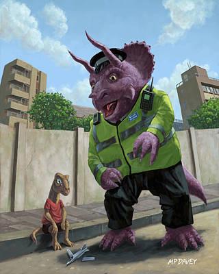M P Davey Digital Art - Dinosaur Community Policeman Helping Youngster by Martin Davey