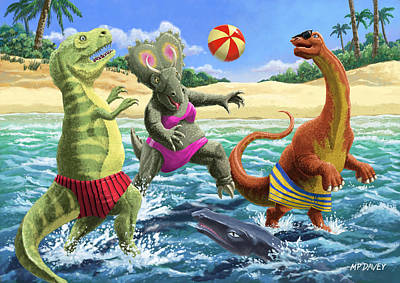 dinosaur fun playing Volleyball on a beach vacation Print by Martin Davey