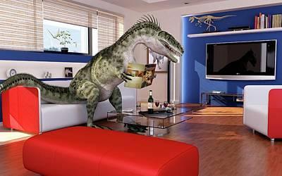 Bizarre Photograph - Dinosaur In A Living Room by Leonello Calvetti