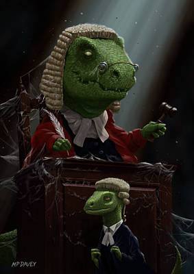 Dinosaur Judge In Uk Court Of Law Print by Martin Davey