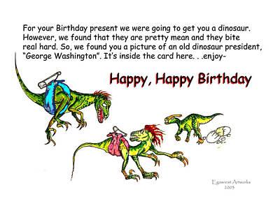 Dinosaur Kids Birthday Print by Michael Shone SR