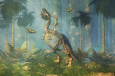 T-rex Digital Art - Dinosaur Warrior  by Carol and Mike Werner