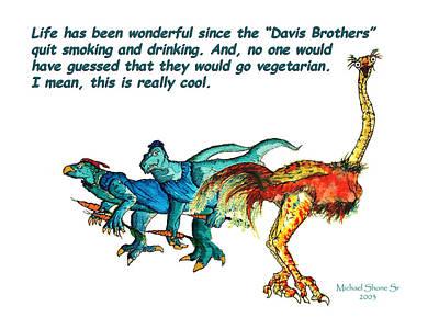 Dinosaurs Quit Drinking Go Vegetarian Print by Michael Shone SR