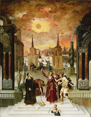 Cosmological Photograph - Dionysius The Areopagite Converting The Pagan Philosophers, 1570s Oil On Panel by Antoine Caron