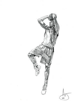 Dirk Drawing - Dirk Nowitzki by Joshua Sooter