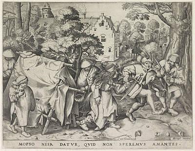 Dirty Bride Or Wedding Of Mopsus And Nisa Print by Pieter Van Der Heyden And Pieter Brueghel I And Cornelis Van Tienen